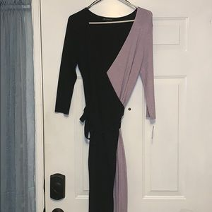 Black and Lavender Thin Sweater wrap dress
